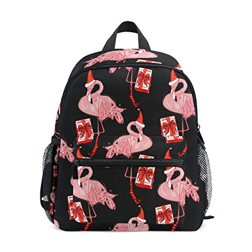ALINLO Kinder Schultasche Flamingo mit Weihnachtsmütze Geschenke Vorschulrucksäcke Kinder Reise Tagesrucksack für Jungen Mädchen