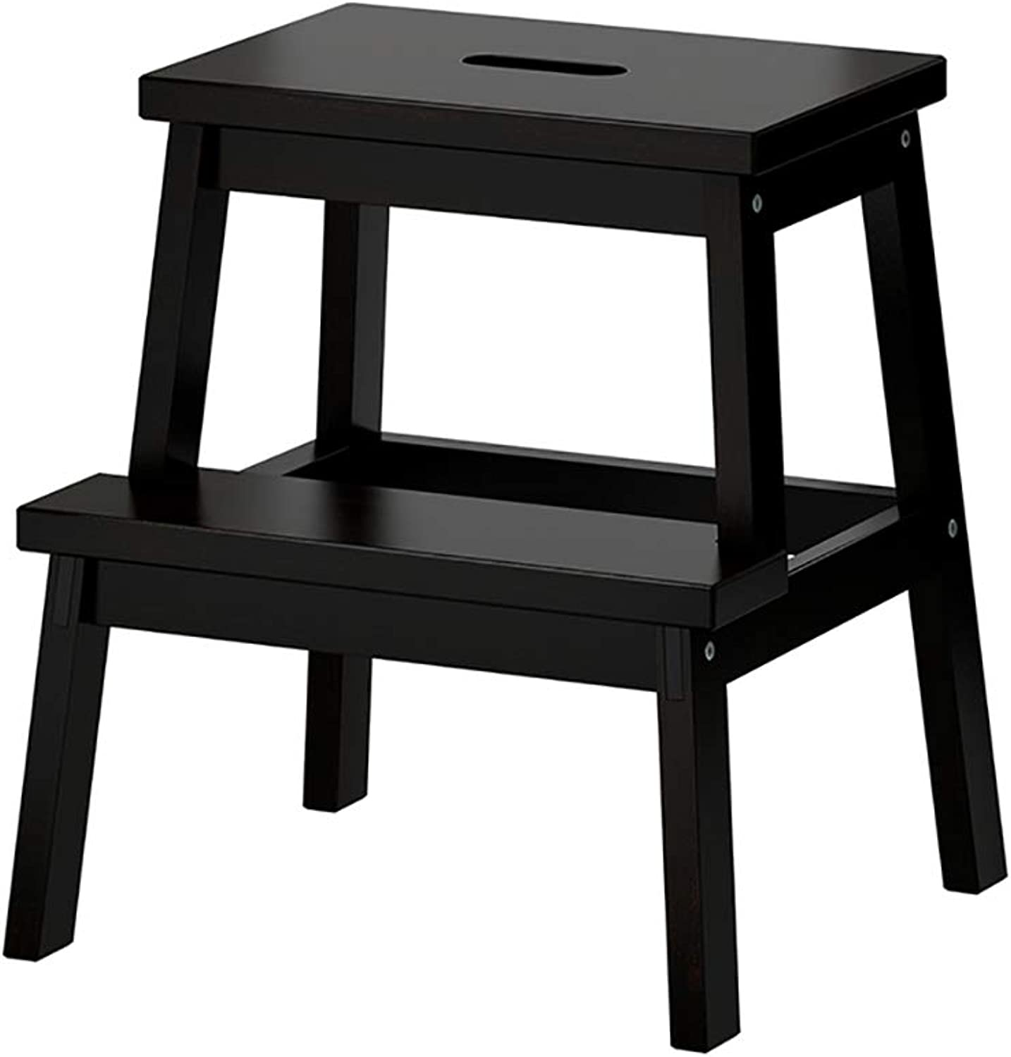 YJLGRYF Ladder Stool 2 Tier Solid Wood Step Stool,Small Stool, shoes Bench, Home Bench Step Stool (color   Black)