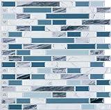 STICKGOO Peel and Stick 3D Azulejo de pared, 30 x 30 cm autoadhesivo para azulejos para cocina y baño (10 hojas, azul)