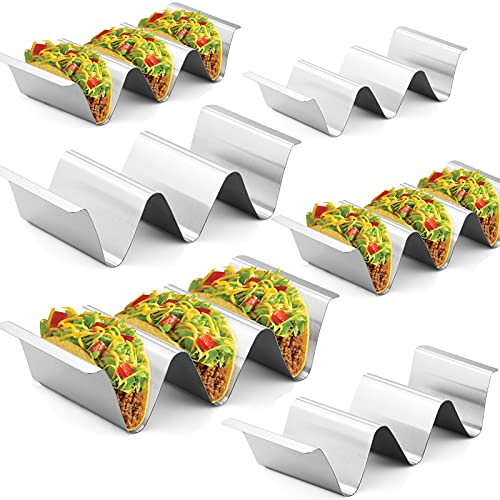 Taco Holder Stand,Set of 6 Stainless Steel Taco Tray,Stylish Taco Shell Holders, Rack Holds Up to 3...