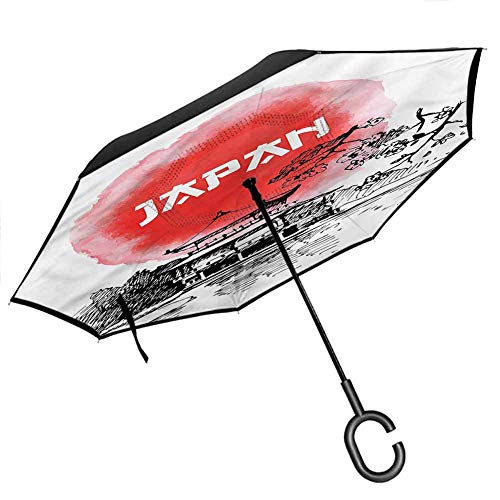 Anyangeight Cat Inverted Umbrellas Reverse Folding Umbrella Siamese Kitty and Dog Portrait Reverse Long Umbrellas, Outdoor Use Windproof UV Protection Umbrella, 42.5'x31.5'Inch