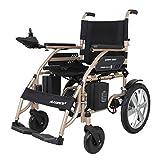 WLG Silla de Ruedas con Motor eléctrico Ligero 34.5Kg Scooter de Movilidad portátil Plegable Res