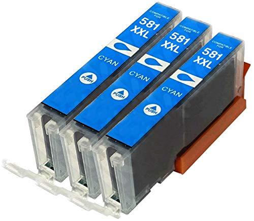 3X Cyan CLI-581C XXL Druckerpatronen kompatibel für Canon Pixma TR7550 TR8550 TS6150 TS6151 TS6251 TS6350 TS6351 TS705 TS8150 TS8152 TS8250 TS8251 TS8252 TS8351 TS8352 TS9150 TS9550 TS9551 TS9551C