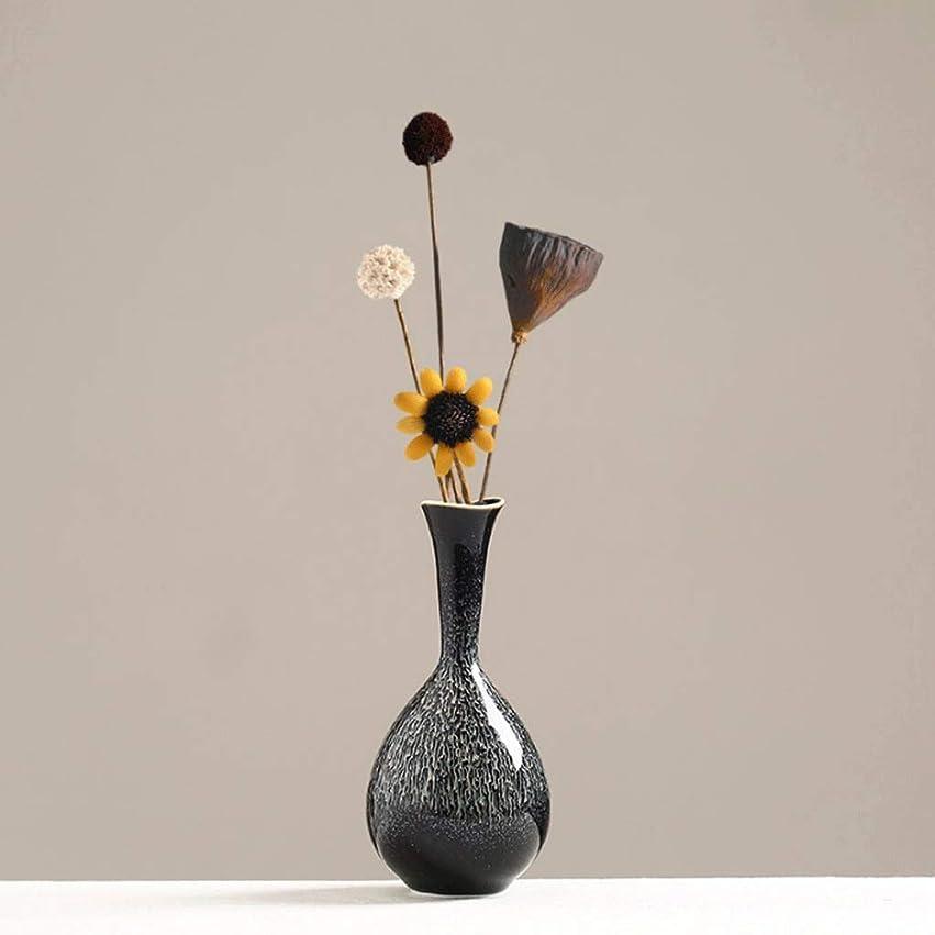 アプローチ合計ハンディ家族と結婚式の花瓶 シンプルな小さな花瓶+ドライフラワー北欧リビングルームフラワーアレンジメントドライフラワーデコレーションモダンなライトラグジュアリーポーチテレビキャビネットセラミックホームデコレーション禅の花のレトロレトロノスタルジックエレガントホーム 屋内と屋外の装飾