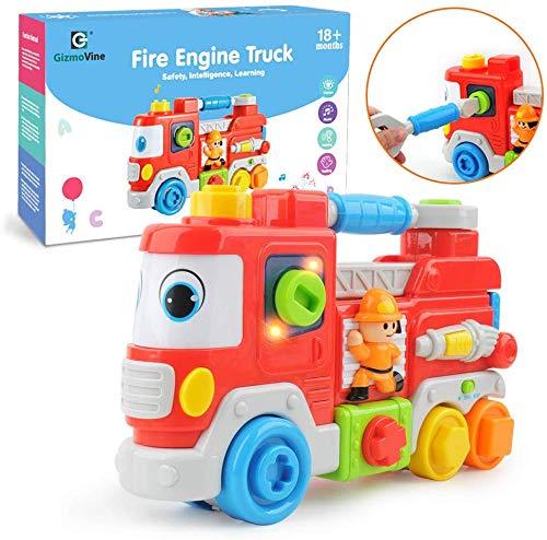 GizmoVine Jouet Bebe Jeux Éducatifs Et Scientifiques Camion De Pompier Jouets avec Musique Et Lumières Cadeau pour Bébés Et Enfants 2,3,4 Ans