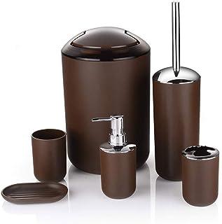 Ejoyous Set Bagno 6 Pezzi Accessori per Bagno Supporto Dispenser Sapone WC Spazzola RACCORDI Bagno Nero