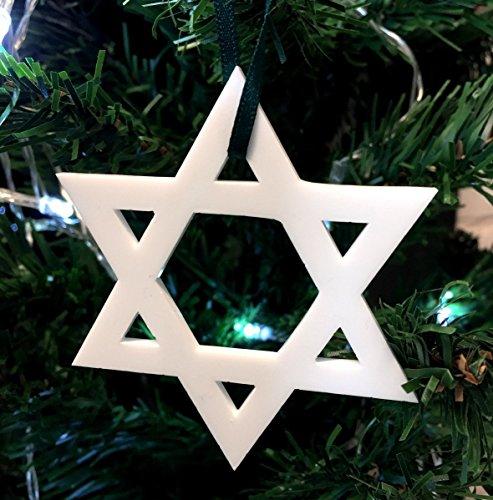 ServeWell Decoración para árbol de Navidad con estrella blanca de David, paquete de 10