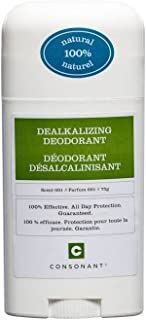 Consonant Skincare Dealkalizing Deodorant, 100% Natural With Bentonite Clay, Arrow Root Powder, Cocoa Butter, Sweet Orange, Cinnamon, Coriander, Cassia and Aloe Vera, Aluminum Free, 75 g. / 2.64 oz.