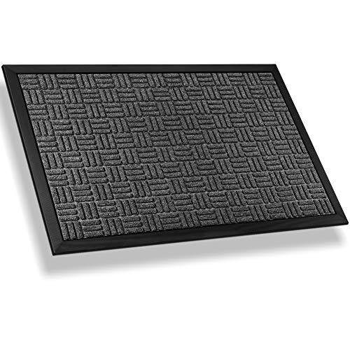 Mibao Entrance Door Mat Large Heavy Duty Front Outdoor Rug Non-Slip Welcome Doormat for Entry, 36 x 60 inch , Grey