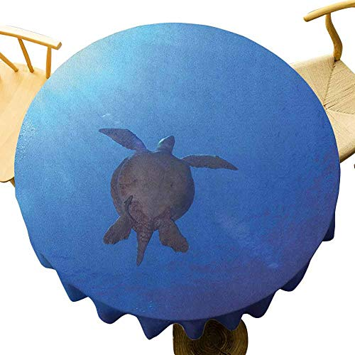 Ocean Tablecloth - 40 Inch Round Tablecloth Camping Sea Turtle Swims to The Surface of Deep Sea with The Sun Rays Nature Picture Art Seamless Design Aqua Navy Brown
