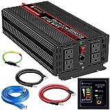 Novopal Power Inverter Pure Sine Wave-2000 Watt 24V DC to 110V/120V AC Converter- 4 AC Outlets Car Inverter with One USB Port-16.4...