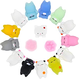 XAUIIO Mochi Squishy Cat Set, 16Pcs Cute Soft Kawaii Squishies Stress Relief and Fidget Squeeze Stress Toys for Kids & Adults(14Cats + 2 Cat Paw)
