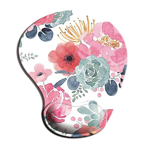 Dooke Ergonomic Mouse Pad with Wrist Support, Cute Mouse Pads with Non-Slip Rubber Base for Home Office Working Studying Easy Typing & Pain Relief Pink Green Floral