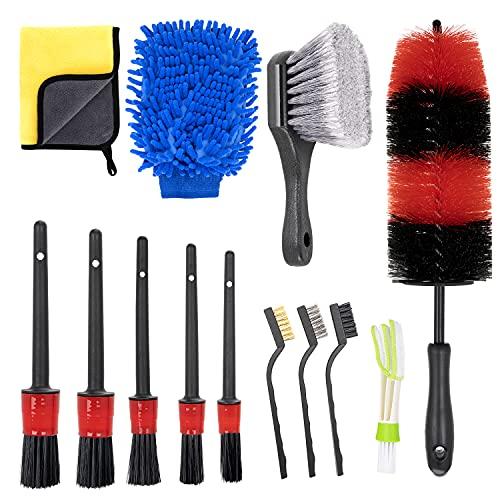 KLAS REMO 13pcs Kit de Limpieza para Coche Herramientas de Limpieza de Automóvil Cepillo para Llanta, Ventilación de Aire,Moto,Juego de Limpieza