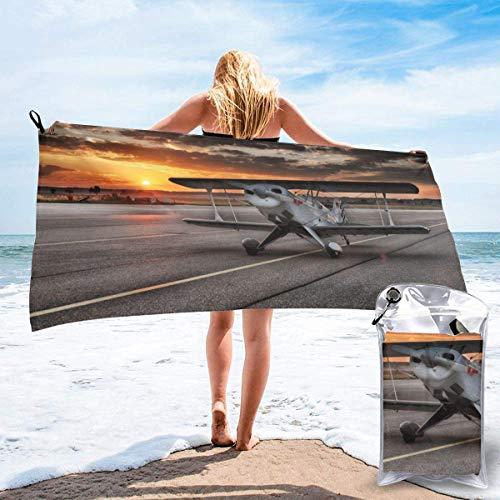 Toallas de Playa de Antiarena de Microfibra para Hombre Mujer, 130x80cm, Toallas Baño Calidad Gigante Secado Rapido para Piscina, Manta Playa, Toalla Yoga Deporte Gimnasio,Patrón de avión pequeño