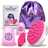 Anti Cellulite Vacuum 2 Cups Set Medical Silicone with Cellulite Massager Remover and Exfoliating Facial Brush for Perfect Body