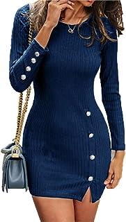Sunnykud - Abito da donna, elegante, a maniche lunghe, con scollo rotondo, da lavoro, per cocktail, per negozi