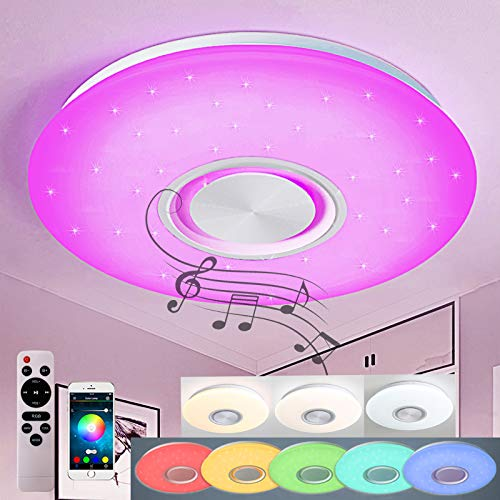 Style home 36W Bluetooth Deckenleuchte RGB LED Musik Deckenlampe, Fernbedienung/APP-Steuerung, Farbwechsel, dimmbar, Sternenhimmeleffekt (500 * 55mm)