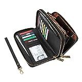 Cynure Women's Large Zipper Card Organizer Long Leather Wristlet Clutch Wallet for Ladies , Black