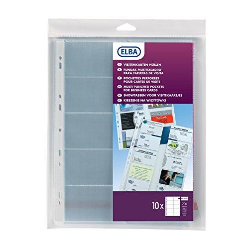 Elba 100206988 - Juego de fundas para tarjetas de visita (tamaño A4, PVC, 55 x 95mm, 10 unidades)