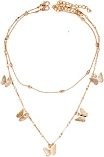 Gold Necklace for Women's Bamboo Necklace Butterfly Pendant Double Necklace Gold Plated Clavicle Chain