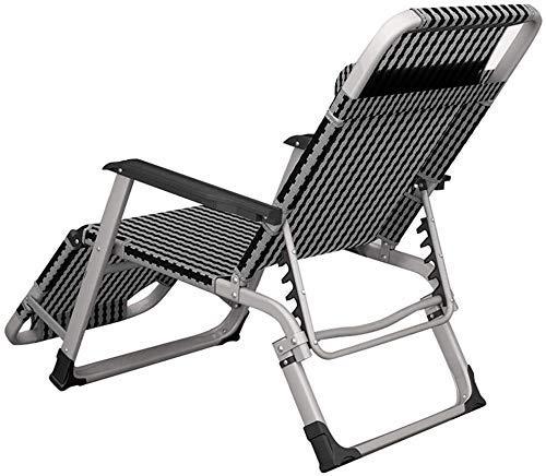 WDHWD reclinable, sillas reclinables al aire libre tumbona reclinable de aluminio ajustable, fundas para cojín reclinable, silla con reposabrazos acolchado individual chaise longue