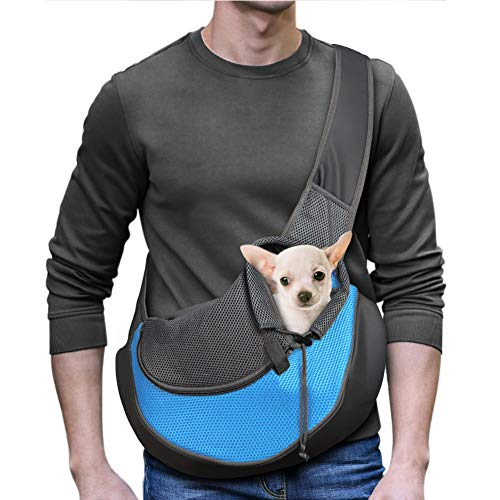 YUDODO Pet Dog Sling Carrier Breathable Mesh Travel Safe Sling Bag Carrier for Dogs Cats (M(up to 10 lbs), Sky Blue)