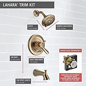 Delta T17438-CZ Lahara 17 Series Dual-Function Tub and Shower Trim Kit with 5-Spray Touch Clean Shower Head, Champagne Bronze (Valve Not Included)
