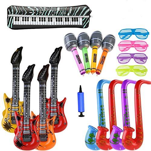 ZCOINS 18PCS Chitarra Gonfiabile Sassofono Microfono Occhiali Palloncini Strumenti Musicali Accessori per Oggetti di Scena Decorazioni per Feste Palloncini-Colore Casuale