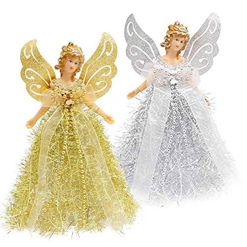 Albero di Natale Toppers - 2, Angel Tree Topper - Ciondolo Fairy Treetop per Decorazioni per Alberi di Natale, Ornamenti per Alberi di Natale E Decorazioni Festive per La Casa
