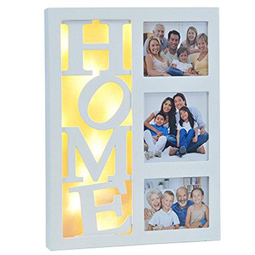 Siehe Beschreibung Beleuchteter Bilderrahmen aus Holz für 3 persönliche Fotos mit 10 warm-weißen LEDs - LED Collage Geburtstag Hochzeit Fotorahmen Weiß Home Rahmen