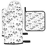 Manoplas para Horno y Soportes para ollas con diseño de Osos de Koala Guantes aislados y Alfombrillas seguras para la encimera de Cocina para cocinar, Barbacoa, Hornear, Parrillas (Juego de 3 Piezas)