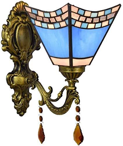 MISLD Lámpara De Cabecera para Dormitorio con Cola De Golondrina Azul Mediterránea Tiffany Europea, Pasillo, Sala De Estar, Cálida, Creativa, Americana, Lámpara De Pared con Vitrales De Hierro