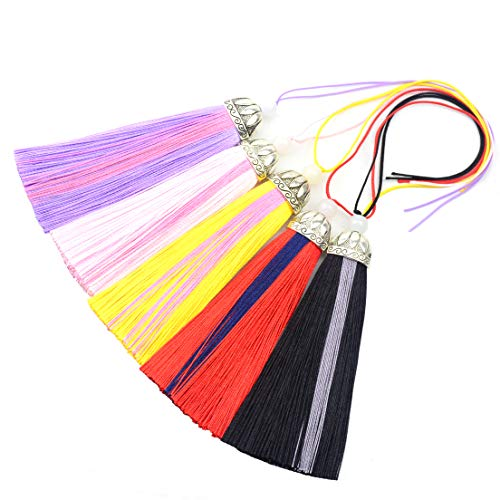 Makhry 5pcs 10'' Silky Floss Bookmark Tassels with Lotus Head White Beads for Jewelry Making Souvenir Bookmarks DIY Craft Accessory