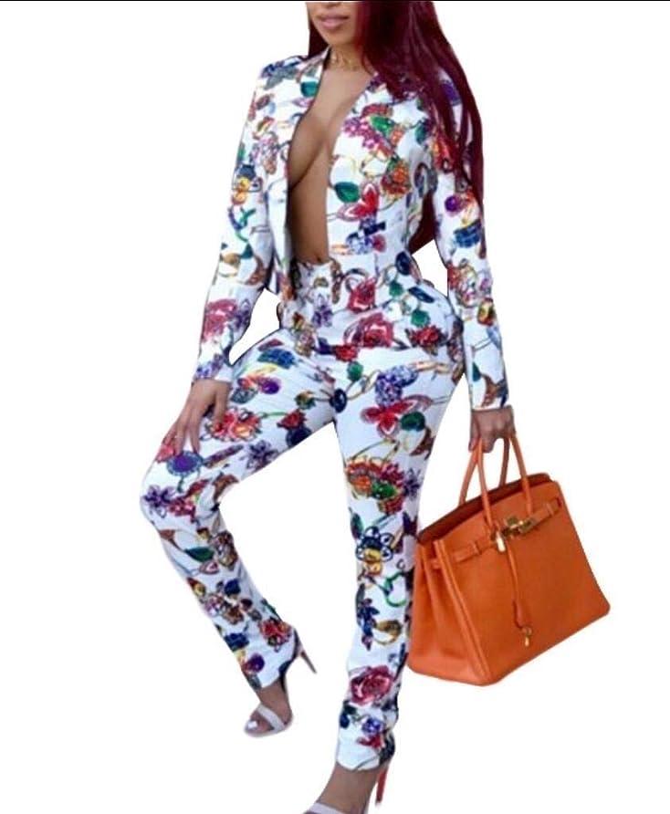 白内障シンカン劣るRomancly レディース服装花プリントカーディガンブレザージャケットパンツセット2ピースセット