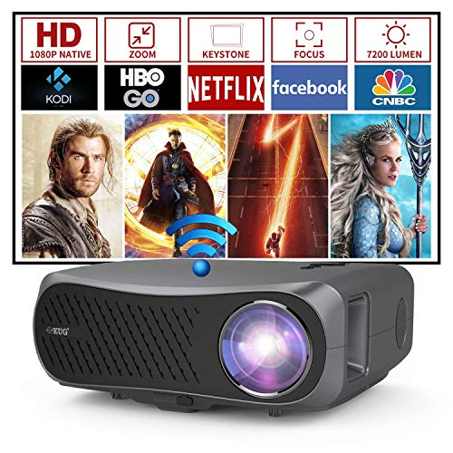 Wireless WiFi Bluetooth Projector 7200 Lumen 1080P Native Outdoor Full HD Movie Smart Android Projector Home Theater Support 4K LCD Video Zoom Gaming for HDMI USB VGA AV PC Laptop TV Stick PS5 Wii DVD