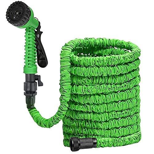 8 Functie waterpistool intrekbare tuinslang, flexibele uitzetslang, multifunctionele spuitpistool, lekdicht, licht, gemakkelijk op te slaan, groene huishoudelijke wasslang