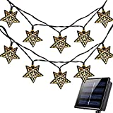 Solar Star String Lights,WONFAST 15.7FT 20LED Moroccan Metal Stars Solar Fairy Lantern Night Decorative String Lights for Garden Yard Home Landscape Christmas Party Lighting Decorations (Warm White)