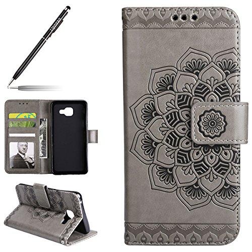 Uposao - Funda para Galaxy A5 (2017) con diseño de flores, de piel sintética, tipo cartera, tipo libro, magnético, ultrafina, de poliuretano, para Huawei P10 Lite, color gris
