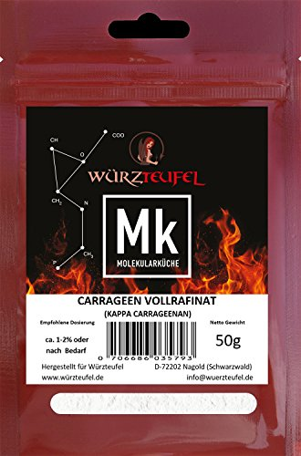 Carrageen, Vollraffiniertes Kappa-Carrageenan, fest gelierend, E407. 2 Beutel je 50g. (100g.)