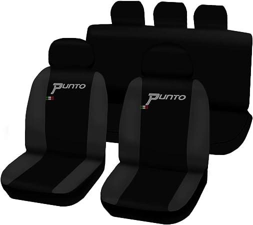 Lupex Shop Fiat Grande Punto 3 Türen Zweifarbige Sitzbezüge Schwarz Dunkelgrau Auto