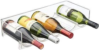 mDesign Nowoczesny stojak na wino – Półka na wino z 5 przegródkami – Stojak na butelki z winem i z wodą – transparentny