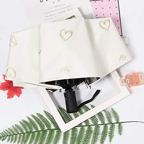 Regenschirm Sonnenschirme Sonnenschirm Sonnencreme Anti-UV-Falten Kleiner frischer Sonnenschirm Love-Beige-Stärkung der Verstärkung von automatischem Geld