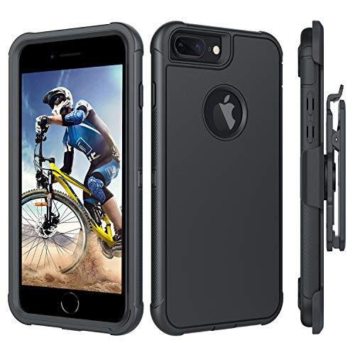 BENTOBEN iPhone 8 Plus Case, iPhone 7 Plus Case, iPhone 6S Plus Case, iPhone 6 Plus Case, Heavy Duty Shockproof Protective Belt Clip Holster Cases for iPhone 8 Plus / 7 Plus / 6S Plus / 6 Plus, Black