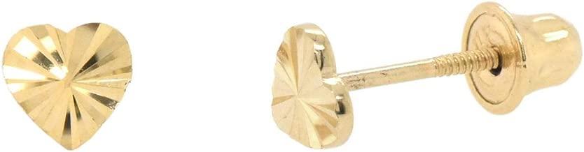 4mm Diamond Cut Heart Studs Screw Back Earrings 14k Gold