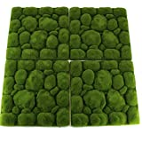 UNIQUE FOREST ARTS Artificial Moss Rocks Panel Decorative Faux Stones Moss mats Plants Wall,Green Wall Decoration, Fairy Gardens Crafting 10 x 10 inch per Panel(Set of 4 pcs)