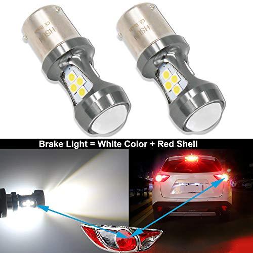 HSUN BAZ15D P21/4W LED Ampoule S7225 S25 12V-24V Blanc 6000K pour Voiture Feu de Renversant Position Arrière feu Antibrouillard Arrière