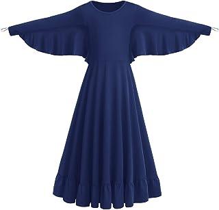 FYMNSI Damen Mädchen Engel Kostüm Langes Partykleid Liturgisch Lob Tanzkleid Engelsflügel Ballkleid Langarm Maxikleid Kinder Erwachsene Tanzkleidung Freizeitkleid Swing Ballettkleid