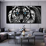 Lienzo moderno Arte Negro Blanco Cabeza de tigre Ojos azules Pintura Arte de la pared Carteles Imagen de arte animal para la sala de estar Cuadros Decoración-80x160cm Sin marco