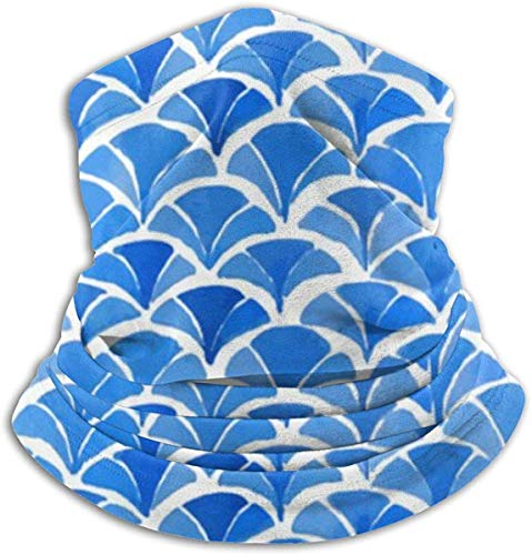 87569dwdsdwd Japanese Kimono Blue Neck Warmer Scarf Fleece Neck Gaiter Tube Winter Windproof Ski Face Mask & Beanie for Men Women Motorcycle Headwear Outdoor Sports Balaclava Half Mask